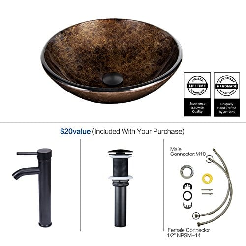 Bathroom Artistic Vessel Sink Modern Round Tempered Glass Basin Washing Bowl Oil Rubbed Bronze Faucet Pop Up Drain Set 0 3