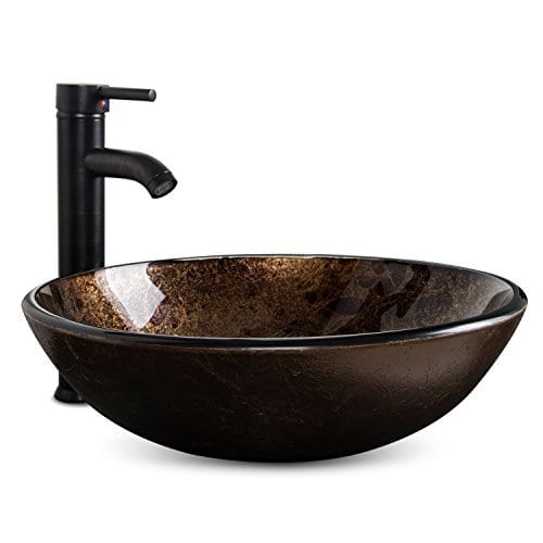 Bathroom Artistic Vessel Sink Modern Round Tempered Glass Basin Washing Bowl Oil Rubbed Bronze Faucet Pop Up Drain Set 0 4