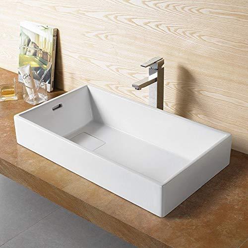 Bathroom Ceramic Vessel Porcelain Sink Rectangle Pop Up Drain 78195 Free Chrome Pop Up Drain 0