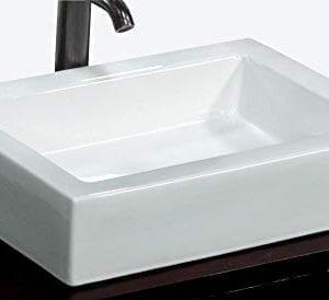 Bathroom Rectangular Ceramic Porcelain Vessel Vanity Sink 7241 Free Pop Up Drain With No Overflow 0 300x274