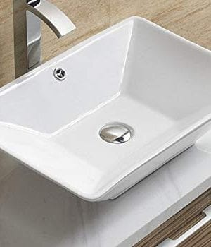 Bathroom White Ceramic Porcelain Vessel Vanity Sink 7880 FREE Chrome Pop Up DrainOver Flow 0 300x350