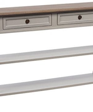 Baxton Furniture Studios Edouard French Provincial Style Distressed Two Tone 2 Drawer Console Table White Wash 0 300x360