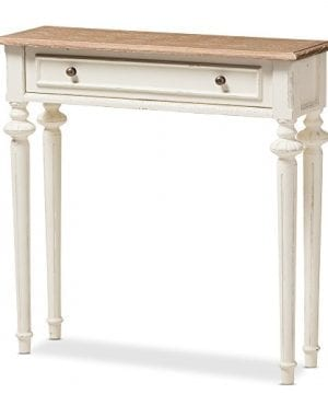 Baxton Studio Colette Weathered Oak White Wash Distressed Two Tone Console Table White 0 300x360