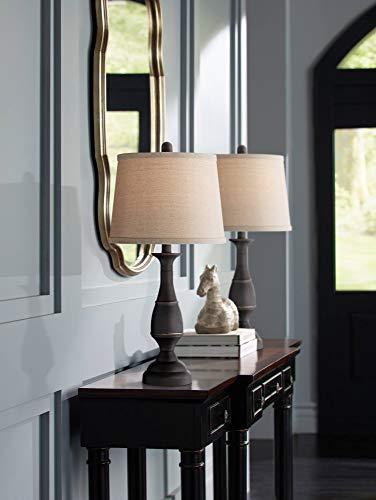 Ben Traditional Table Lamps Set Of 2 Dark Bronze Metal Beige Linen Drum Shade For Living Room Family Bedroom Bedside Regency Hill 0 0