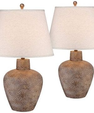 Bentley Rustic Table Lamps Set Of 2 Hammered Pot Washed Brown Off White Empire Shade For Living Room Family Bedroom Franklin Iron Works 0 300x360