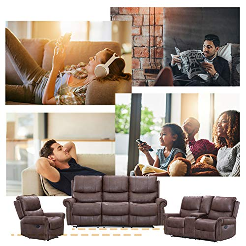 BestMassage Sofa Living Room Set Reclining Couch Chair Leather Loveseat 3 Seater Theater Seating Manual Motion For Home Furniture Brown 0 0