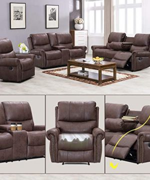 BestMassage Sofa Living Room Set Reclining Couch Chair Leather Loveseat 3 Seater Theater Seating Manual Motion For Home Furniture Brown 0 1 300x360