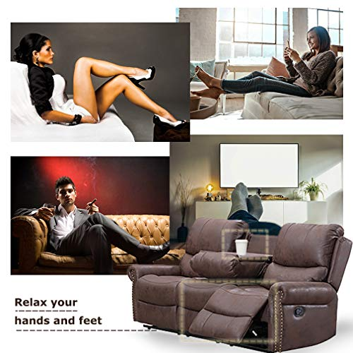 BestMassage Sofa Living Room Set Reclining Couch Chair Leather Loveseat 3 Seater Theater Seating Manual Motion For Home Furniture Brown 0 3