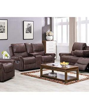 BestMassage Sofa Living Room Set Reclining Couch Chair Leather Loveseat 3 Seater Theater Seating Manual Motion For Home Furniture Brown 0 300x360