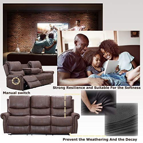BestMassage Sofa Living Room Set Reclining Couch Chair Leather Loveseat 3 Seater Theater Seating Manual Motion For Home Furniture Brown 0 4