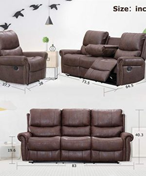 BestMassage Sofa Living Room Set Reclining Couch Chair Leather Loveseat 3 Seater Theater Seating Manual Motion For Home Furniture Brown 0 5 300x360
