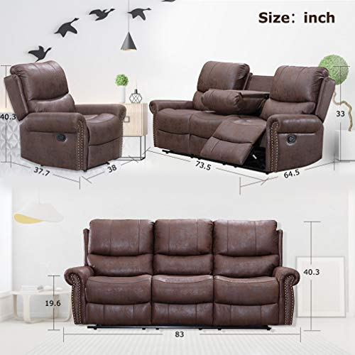 BestMassage Sofa Living Room Set Reclining Couch Chair Leather Loveseat 3 Seater Theater Seating Manual Motion For Home Furniture Brown 0 5