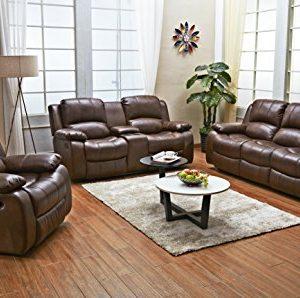 Betsy Furniture 3PC Bonded Leather Recliner Set Living Room Set In Brown Sofa Loveseat Chair Pillow Top Backrest And Armrests 8018 Brown Livingroom Set 321 0 0 300x298