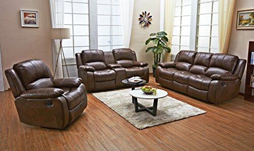 Betsy Furniture 3PC Bonded Leather Recliner Set Living Room Set In Brown Sofa Loveseat Chair Pillow Top Backrest And Armrests 8018 Brown Livingroom Set 321 0 0