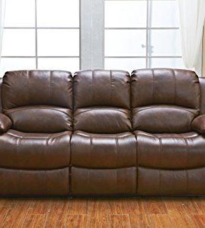 Betsy Furniture 3PC Bonded Leather Recliner Set Living Room Set In Brown Sofa Loveseat Chair Pillow Top Backrest And Armrests 8018 Brown Livingroom Set 321 0 1 300x333