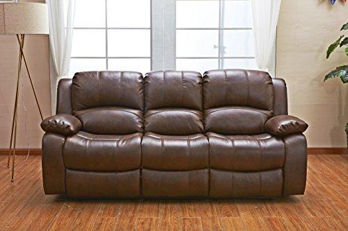 Betsy Furniture 3PC Bonded Leather Recliner Set Living Room Set In Brown Sofa Loveseat Chair Pillow Top Backrest And Armrests 8018 Brown Livingroom Set 321 0 1