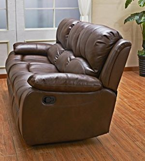 Betsy Furniture 3PC Bonded Leather Recliner Set Living Room Set In Brown Sofa Loveseat Chair Pillow Top Backrest And Armrests 8018 Brown Livingroom Set 321 0 2 300x333