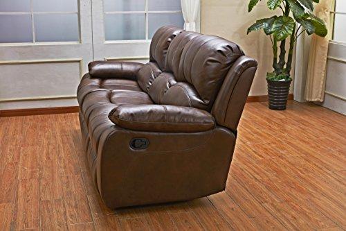 Betsy Furniture 3PC Bonded Leather Recliner Set Living Room Set In Brown Sofa Loveseat Chair Pillow Top Backrest And Armrests 8018 Brown Livingroom Set 321 0 2