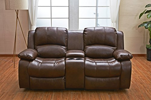 Betsy Furniture 3PC Bonded Leather Recliner Set Living Room Set In Brown Sofa Loveseat Chair Pillow Top Backrest And Armrests 8018 Brown Livingroom Set 321 0 3