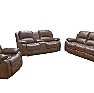 Betsy Furniture 3PC Bonded Leather Recliner Set Living Room Set In Brown Sofa Loveseat Chair Pillow Top Backrest And Armrests 8018 Brown Livingroom Set 321 0 300x298
