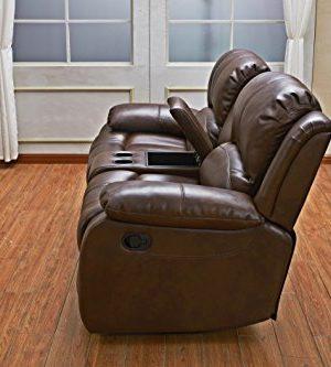Betsy Furniture 3PC Bonded Leather Recliner Set Living Room Set In Brown Sofa Loveseat Chair Pillow Top Backrest And Armrests 8018 Brown Livingroom Set 321 0 4 300x333