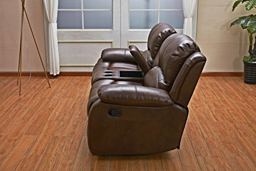Betsy Furniture 3PC Bonded Leather Recliner Set Living Room Set In Brown Sofa Loveseat Chair Pillow Top Backrest And Armrests 8018 Brown Livingroom Set 321 0 4