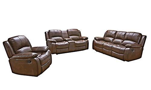 Betsy Furniture 3PC Bonded Leather Recliner Set Living Room Set In Brown Sofa Loveseat Chair Pillow Top Backrest And Armrests 8018 Brown Livingroom Set 321 0