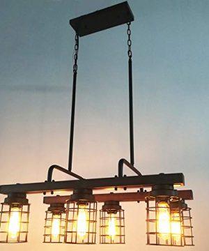 Beuhouz Farmhouse Chandelier Light Metal And Wood Kitchen Island Light Fixture Linear Cage Chandelier 6 Lights Edison E26 8004 0 1 300x360