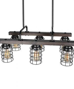 Beuhouz Farmhouse Chandelier Light Metal And Wood Kitchen Island Light Fixture Linear Cage Chandelier 6 Lights Edison E26 8004 0 2 300x360