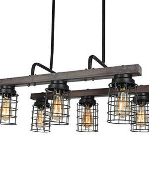 Beuhouz Farmhouse Chandelier Light Metal And Wood Kitchen Island Light Fixture Linear Cage Chandelier 6 Lights Edison E26 8004 0 3 300x360