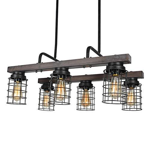 Beuhouz Farmhouse Chandelier Light Metal And Wood Kitchen Island Light Fixture Linear Cage Chandelier 6 Lights Edison E26 8004 0 3