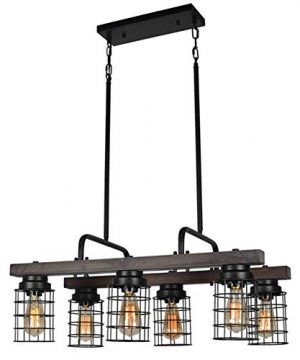 Beuhouz Farmhouse Chandelier Light Metal And Wood Kitchen Island Light Fixture Linear Cage Chandelier 6 Lights Edison E26 8004 0 300x360