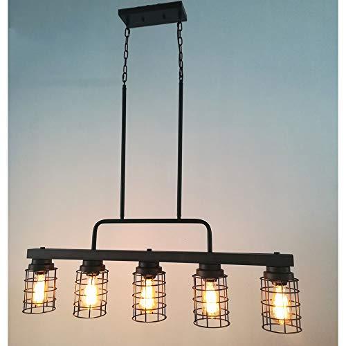 Beuhouz Farmhouse Pool Table Light Metal And Wood Kitchen Island Lighting Linear Cage Chandelier 5 Lights Edison E26 8003 0 1