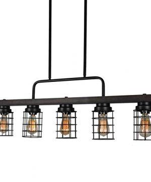 Beuhouz Farmhouse Pool Table Light Metal And Wood Kitchen Island Lighting Linear Cage Chandelier 5 Lights Edison E26 8003 0 2 300x360