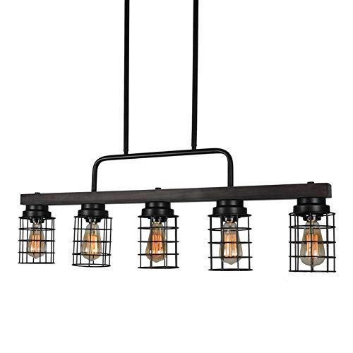 Beuhouz Farmhouse Pool Table Light Metal And Wood Kitchen Island Lighting Linear Cage Chandelier 5 Lights Edison E26 8003 0 2