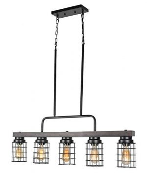 Beuhouz Farmhouse Pool Table Light Metal And Wood Kitchen Island Lighting Linear Cage Chandelier 5 Lights Edison E26 8003 0 3 300x360