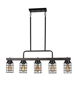 Beuhouz Farmhouse Pool Table Light Metal And Wood Kitchen Island Lighting Linear Cage Chandelier 5 Lights Edison E26 8003 0 300x360