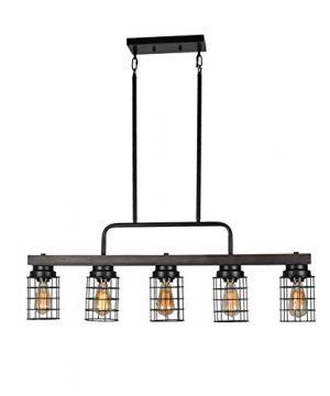 Beuhouz Farmhouse Pool Table Light Metal And Wood Kitchen Island Lighting Linear Cage Chandelier 5 Lights Edison E26 8003 0 300x360
