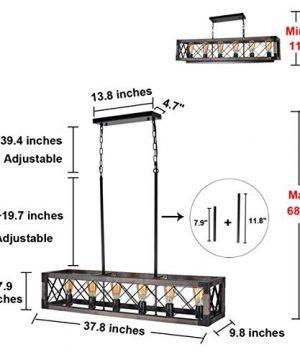 Beuhouz Long Wood Chandelier Light For Kitchen Island Metal Farmhouse Dining Room Lighting Rectangle Chandelier Billiard Light 6 Lights Edison E26 8001A 0 0 300x360