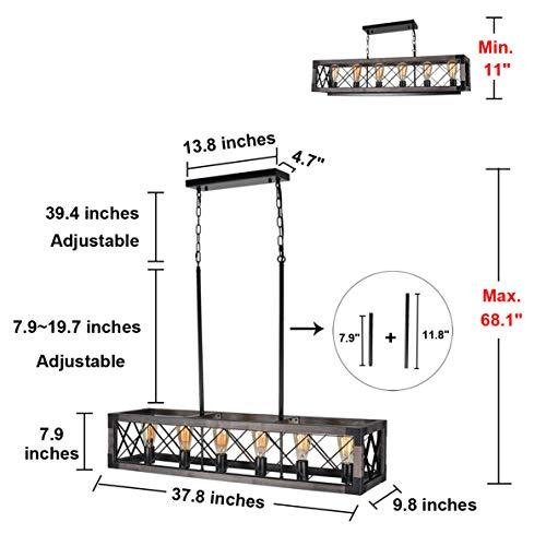 Beuhouz Long Wood Chandelier Light For Kitchen Island Metal Farmhouse Dining Room Lighting Rectangle Chandelier Billiard Light 6 Lights Edison E26 8001A 0 0