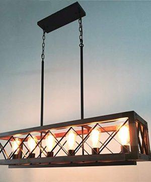 Beuhouz Long Wood Chandelier Light For Kitchen Island Metal Farmhouse Dining Room Lighting Rectangle Chandelier Billiard Light 6 Lights Edison E26 8001A 0 1 300x360