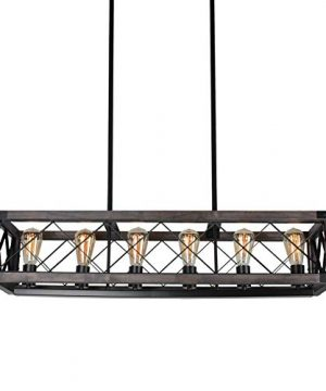 Beuhouz Long Wood Chandelier Light For Kitchen Island Metal Farmhouse Dining Room Lighting Rectangle Chandelier Billiard Light 6 Lights Edison E26 8001A 0 2 300x360