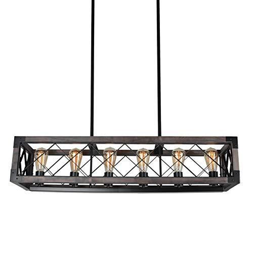 Beuhouz Long Wood Chandelier Light For Kitchen Island Metal Farmhouse Dining Room Lighting Rectangle Chandelier Billiard Light 6 Lights Edison E26 8001A 0 2