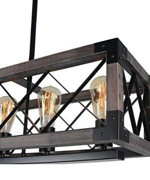 Beuhouz Long Wood Chandelier Light For Kitchen Island Metal Farmhouse Dining Room Lighting Rectangle Chandelier Billiard Light 6 Lights Edison E26 8001A 0 3 300x360