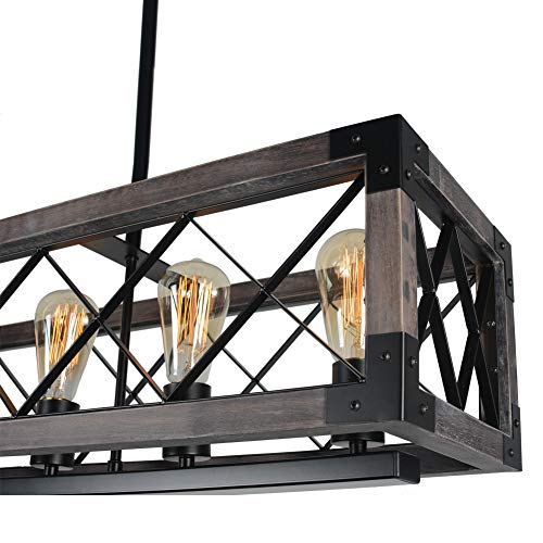 Beuhouz Long Wood Chandelier Light For Kitchen Island Metal Farmhouse Dining Room Lighting Rectangle Chandelier Billiard Light 6 Lights Edison E26 8001A 0 3