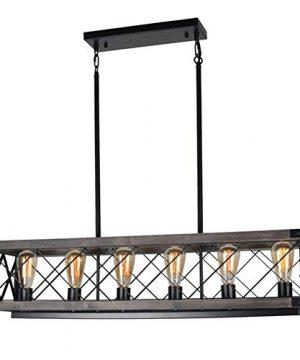 Beuhouz Long Wood Chandelier Light For Kitchen Island Metal Farmhouse Dining Room Lighting Rectangle Chandelier Billiard Light 6 Lights Edison E26 8001A 0 300x360