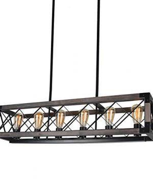 Beuhouz Long Wood Chandelier Light For Kitchen Island Metal Farmhouse Dining Room Lighting Rectangle Chandelier Billiard Light 6 Lights Edison E26 8001A 0 4 300x360