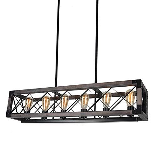Beuhouz Long Wood Chandelier Light For Kitchen Island Metal Farmhouse Dining Room Lighting Rectangle Chandelier Billiard Light 6 Lights Edison E26 8001A 0 4