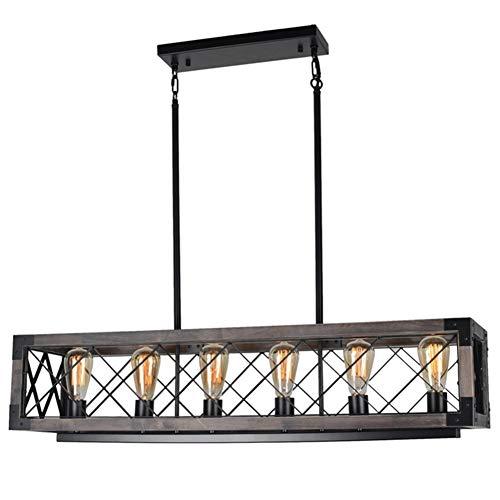 Beuhouz Long Wood Chandelier Light For Kitchen Island Metal Farmhouse Dining Room Lighting Rectangle Chandelier Billiard Light 6 Lights Edison E26 8001A 0