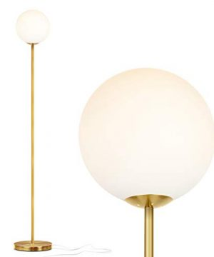 Brightech Luna Frosted Glass Globe LED Floor Lamp Mid Century Modern Standing Lamp For Living Rooms Tall Pole Light For Bedroom Office With LED Bulb Antique Brass 0 300x360